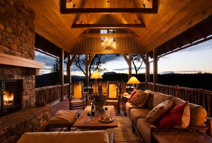 Country Porch with Screened porch, Antler Chandeliers & Lighting Company The Cascade, Wrap around porch