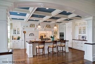 Traditional Kitchen with Flush, Box ceiling, Flat panel cabinets, U-shaped, Wood counters, Crown molding, Glass panel