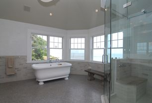Traditional Master Bathroom with Master bathroom, Clawfoot, ceramic tile floors, frameless showerdoor