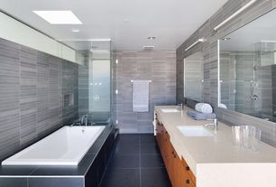 Contemporary Master Bathroom with Shower, Wall Tiles, Rain shower, stone tile floors, Flush, Limestone counters, can lights