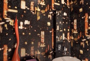 Eclectic Powder Room with interior wallpaper, Powder room, Vessel sink