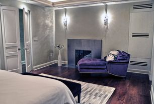 Contemporary Master Bedroom with Standard height, Fireplace, Hardwood floors, Cement fireplace, Crown molding, can lights