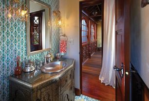Mediterranean Powder Room with specialty door, Powder room, interior wallpaper, Flush, Flat panel cabinets, Wall sconce