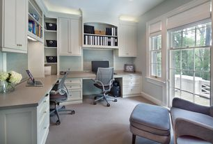 Traditional Home Office with Paint 1, interior wallpaper, double-hung window, Built-in bookshelf, Carpet, Standard height