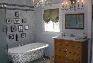 Eclectic Full Bathroom with Ms international carrara white marble, Powder room, Complex Granite, penny tile floors, Clawfoot