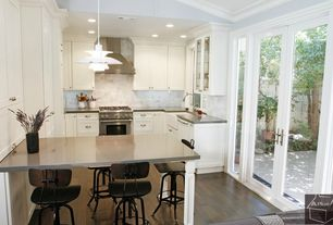 Contemporary Kitchen with Farmhouse sink, Pendant light, Flush, dishwasher, can lights, full backsplash, Standard height