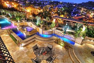 Mediterranean Swimming Pool with Fire pit, exterior stone floors, Fountain, Trellis