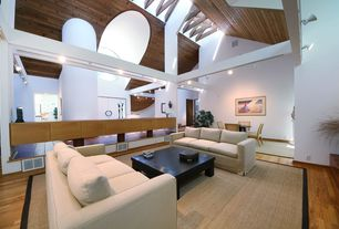 Contemporary Living Room with Hardwood floors, Built-in bookshelf, Exposed beam, Skylight, Cathedral ceiling