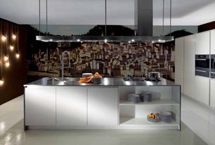 Contemporary Kitchen with L-shaped, European Cabinets, Concrete floors, Kitchen island, Mural, Standard height, can lights