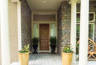 Country Front Door with exterior stone floors, Transom window