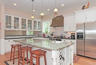 Country Kitchen with L-shaped, Glass panel, Kitchen island, Custom hood, Breakfast bar, High ceiling, Simple granite counters