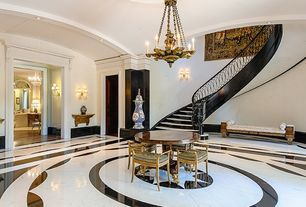 Contemporary Staircase with High ceiling, Wall sconce, curved staircase, Paint, Hardwood floors