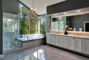 "Modern Master Bathroom with Kohler k-1834-0 white underscore 72"" soaking tub with center drain, Flat panel cabinets"