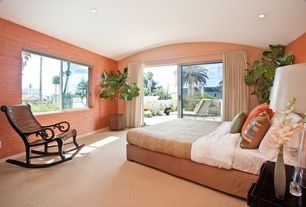 Tropical Guest Bedroom with Carpet, interior wallpaper