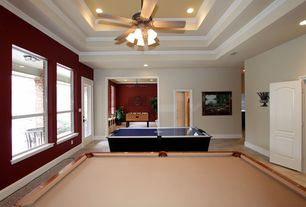 Traditional Game Room with Crown molding, High ceiling, Ceiling fan
