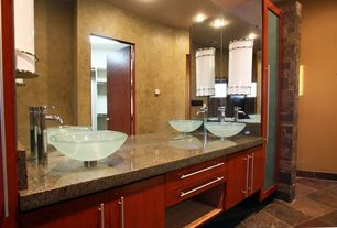 Modern 3/4 Bathroom with can lights, flat door, stone tile floors, Standard height, Tuscan brown, Formica counters, Paint