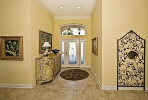 Eclectic Entryway with Crown molding, can lights, Standard height, Glass panel door