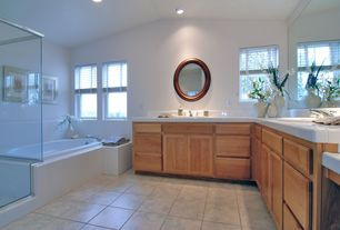 Craftsman Master Bathroom with Bathtub, can lights, Large Ceramic Tile, Standard height, Shower, framed showerdoor