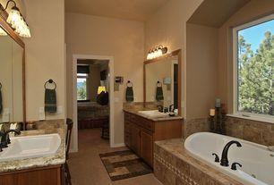 Craftsman Master Bathroom with Carpet, Master bathroom, Complex marble counters