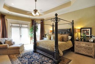 Traditional Guest Bedroom with French doors, Safavieh Lyndhurst Black Area Rug, Carpet, The Le Palais Formal Canopy Bed