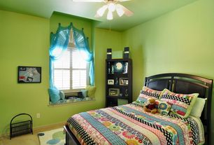 Modern Kids Bedroom with Arched window, Carpet, flush light, Window seat, Dream Factory Peace & Love Bed Set, Ceiling fan