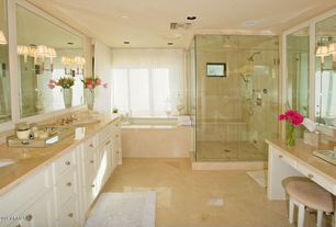 Modern Master Bathroom with Shower jets, Hudson Valley - Salina 2 Light Wall Sconce, Regina Andrew - Large Mirrored Tray