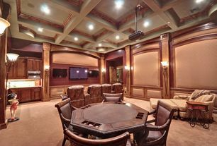 Traditional Game Room with Crown molding, Carpet, Box ceiling, High ceiling, Wainscotting, Chair rail, Wall sconce