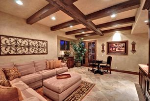 Eclectic Great Room with Carpet, Built-in bookshelf, Box ceiling, terracotta tile floors, French doors
