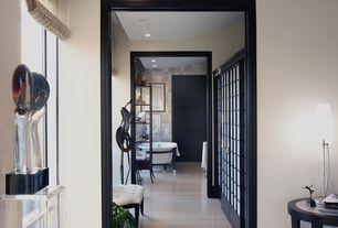 Contemporary Hallway with Window seat, specialty door, Laminate floors