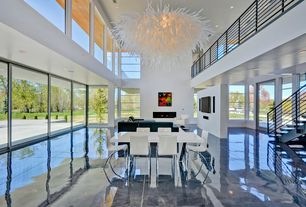 Modern Great Room with Chandelier, Loft, Large angel chandelier, complex marble floors, Galaxy-160 Rectangular Table