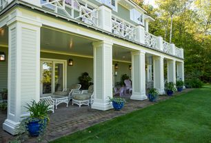 Traditional Porch with Screened porch, Pathway, Deck Railing, French doors, exterior stone floors
