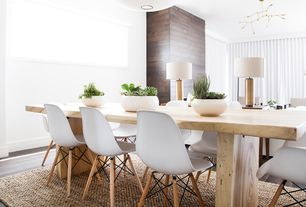 Contemporary Dining Room with Dsw Molded Plastic Side Chair Wooden Dowel Base, Hardwood floors, Dakota Dining Table