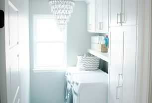 "Contemporary Laundry Room with Crystorama calypso 12"" wide crystal and chrome chandelier, Chandelier, Custom cabinetry"
