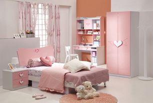 Contemporary Kids Bedroom with specialty window, Standard height, Paint 1, no bedroom feature, Built-in bookshelf
