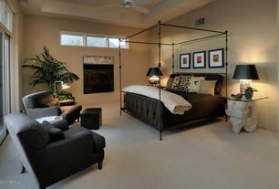 Contemporary Guest Bedroom with Ceiling fan, Carpet, High ceiling, Transom window