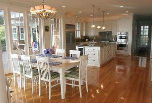 Cottage Kitchen with single dishwasher, Casement, European Cabinets, full backsplash, Breakfast nook, French doors, Paint 1