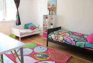 Contemporary Kids Bedroom with Standard height, no bedroom feature, Hardwood floors, Casement