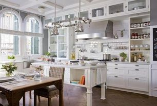 Contemporary Kitchen with Pottery Barn - Seagrass Chair, Flush, Pendant light, Glass panel, Subway Tile, L-shaped