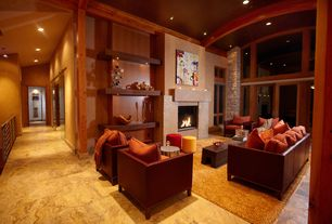 Contemporary Great Room with Casement, can lights, Fireplace, Columns, stone fireplace, onyx tile floors, High ceiling