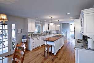 Traditional Kitchen with Kitchen island, Galley, Flush, Complex Marble, Complex marble counters, Raised panel, Farmhouse sink