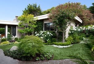 Traditional Landscape/Yard with Fence, exterior stone floors, Pathway
