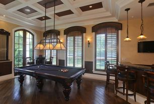 Traditional Game Room with specialty window, Hardwood floors, Standard height, Pendant light, Crown molding, can lights