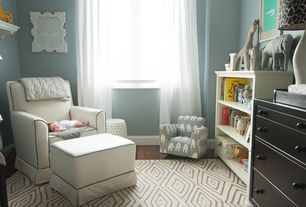 Traditional Kids Bedroom with Casement, Paint, Standard height, Shay swivel glider chair & ottoman, Hardwood floors