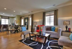 Contemporary Living Room with Hardwood floors, Wainscotting, Crown molding