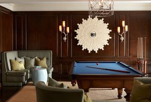 Contemporary Game Room with Standard height, Chair rail, Crown molding, Box ceiling, Wall sconce, Hardwood floors
