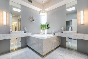 Contemporary Master Bathroom with Pendant light, can lights, Standard height, flush light, Vessel sink, Master bathroom