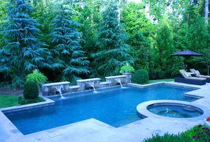 Rustic Swimming Pool with Fence, Fountain, Pathway, exterior stone floors, Pool with hot tub, Wicker chaise lounge