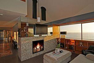 Asian Living Room with Paint, picture window, soapstone tile floors, High ceiling, stone tile floors, Pendant light