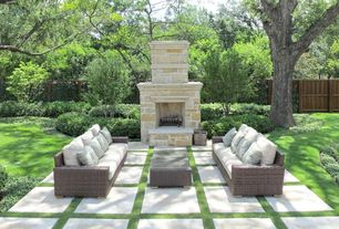 Traditional Patio with Fence, exterior tile floors, exterior concrete tile floors