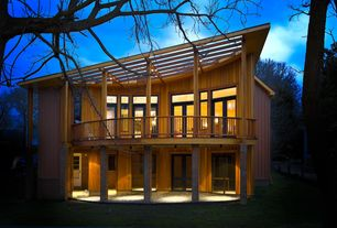 Modern Deck with Trellis, French doors, picture window, Deck Railing, Pathway, Transom window